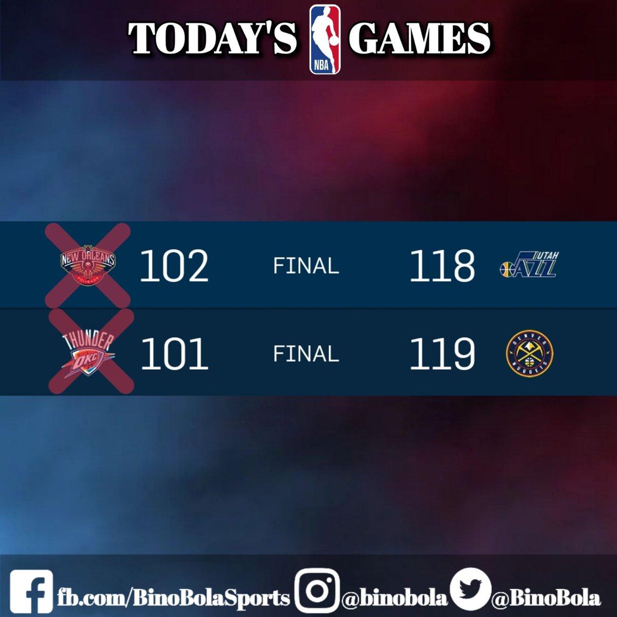 Take a look at the NBA games today!   #RegularSeason #Day28 #BinoBolaSports #Scores