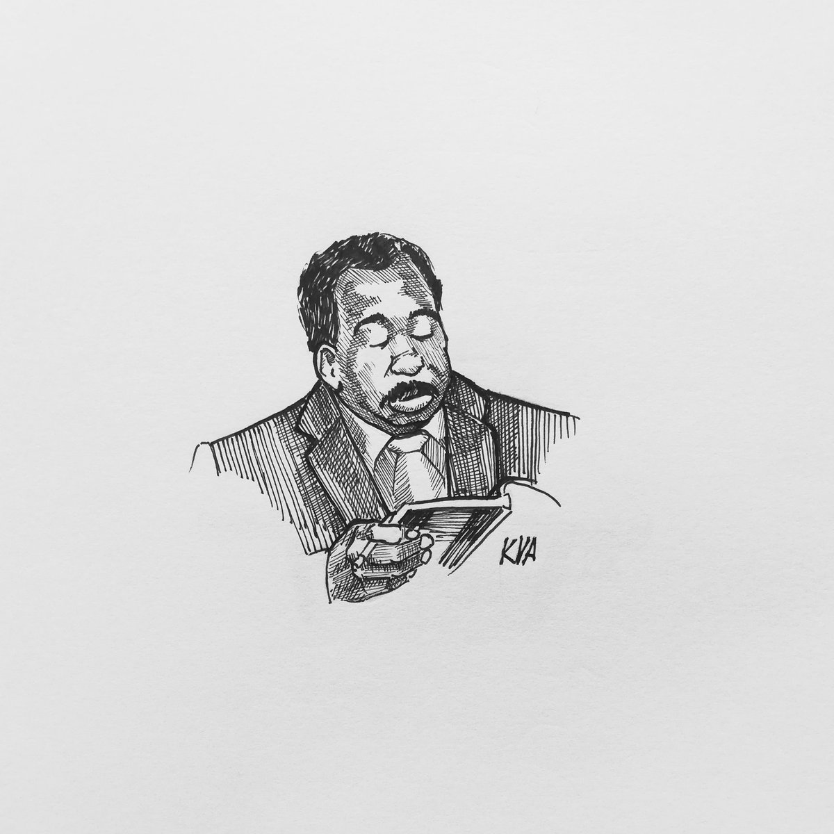 Nr. 48 yawn  #inktober2020 #inktober52 #inktober #yawn #theoffice #theofficeus #stanley #stanleyhudson #alwaysbored #passingtime #salesman #dundermifflin #papercompany #illustration #drawing #art