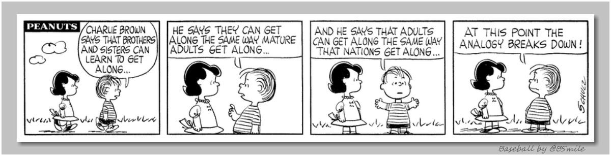 """Charlie Brown says that brothers and sisters can learn to get along...""  ~ Linus van Pelt (Classic Peanuts - 1961) #WednesdayWisdom"