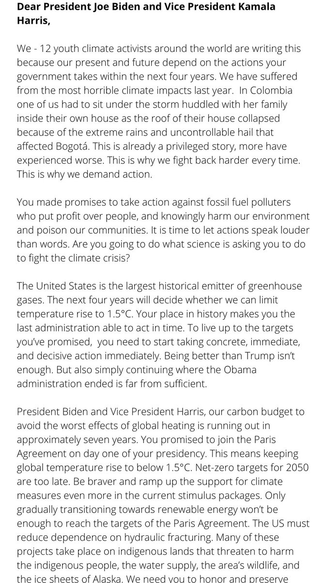 TO @JoeBiden & @KamalaHarris:   We - 12 youth climate activists around the world- wrote this letter to you because our present and future depend on the actions your government takes within the next four years.   I hoped you read it and write it back.  https://t.co/3s71tRxKL7 https://t.co/t1smAwsDiB