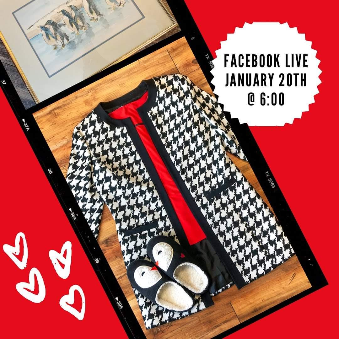 We will be having a Facebook Live shopping event this evening at 6:00 pm to celebrate National Penguin Awareness Day!  Black, white, (& some red) pieces will be shown from the Boutique as well as some items from the House!   We hope to see you there ❤️ #NationalPenguinDay