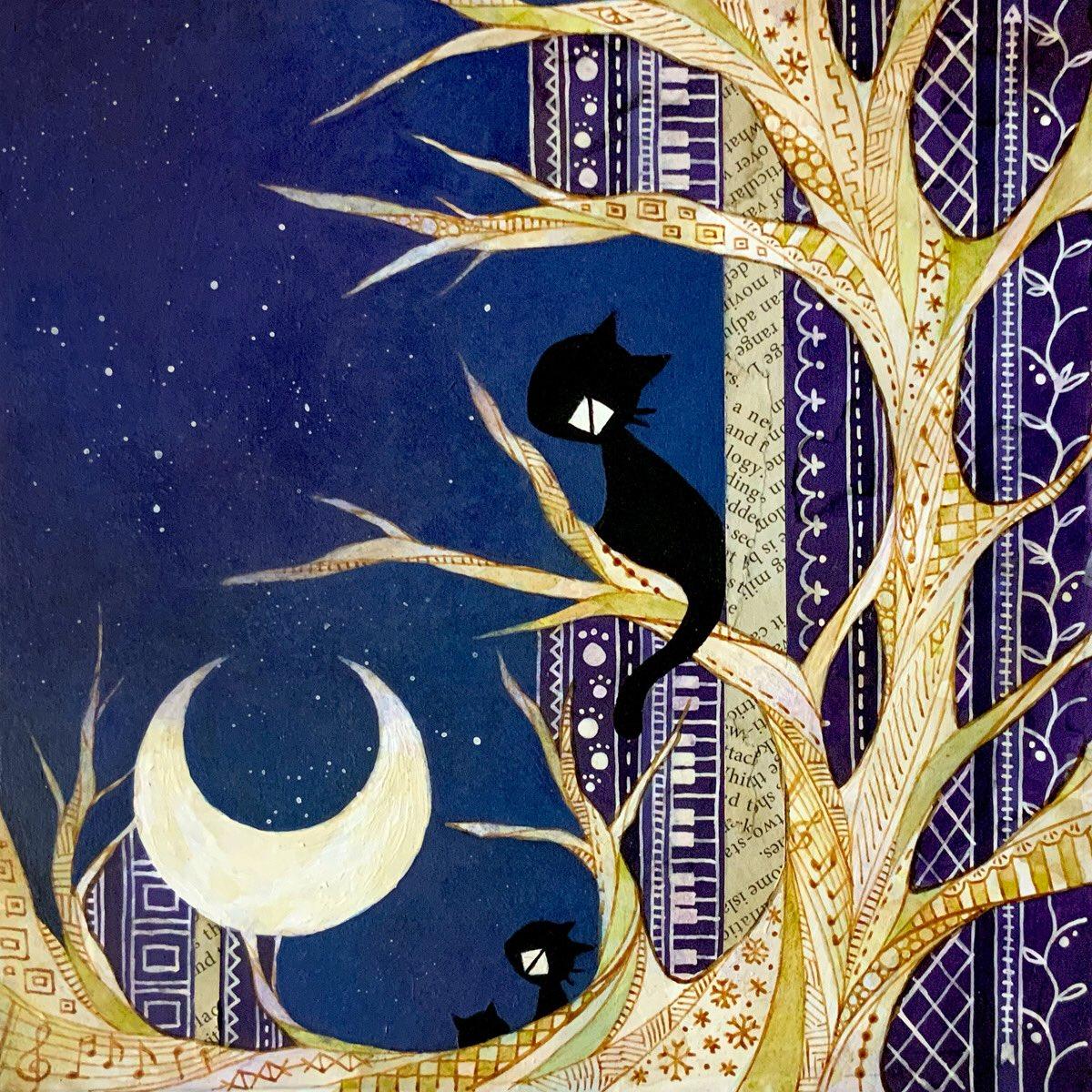 上の対になる絵。 #イラスト #illustration #創作 #cat #猫 #月 #moon #夜 #night