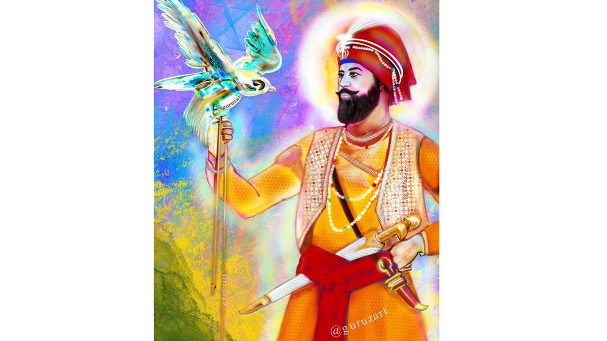 """Dhan Dhan Sri Guru Gobind Singh Ji de Prakash Purab diyaan lakh lakh Vadhaaiyan hon ji.  """"Sava Lakh Se Ek Ladaun Tabhi Gobind Singh Naam Kahaun""""☬  Artist:@guruzart  #sikhi #Kaur #sikh #singh #Punjabi  #gurbani #sikhworld #darbarsahib #waheguru #WaheguruJi #gurugobindsinghji #uk https://t.co/0EqcYFGus8"""