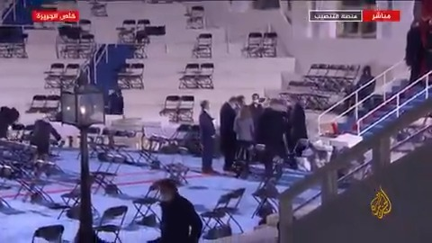 كاميرا #الجزيرة ترصد الاستعدادات في منصة حفل تنصيب الرئيس الأمريكي المنتخب جو #بايدن  #الجزيرة_أمريكا20
