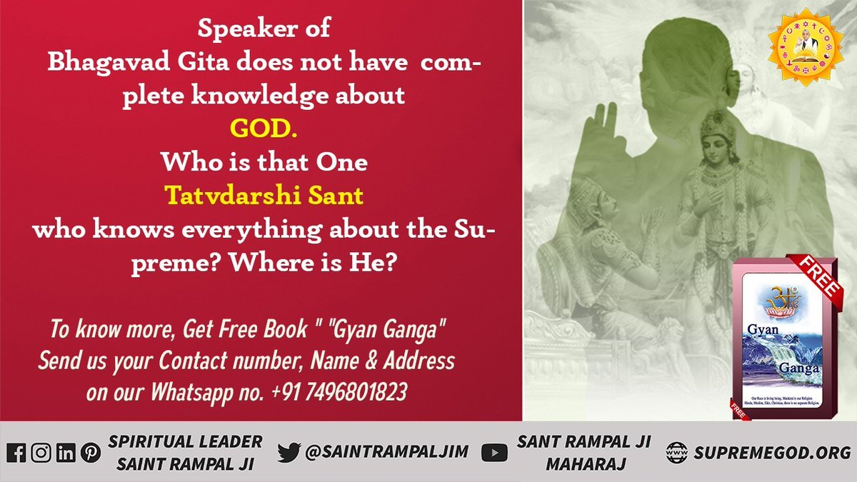 #HiddenTruthOfGita  Bhagavad Gita Chapter 16:23, 24  O Bharat! A worshipper, who abandoning the injunctions of the scriptures, performs arbitrary practices, attains neither happiness, nor siddhi (supernatural powers) and nor. @SaintRampalJiM @SatlokChannel