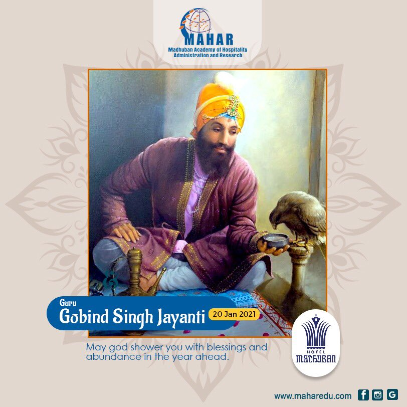 """""""May the teaching of Guru Gobind Singh reflect goodness and compassion in you and bring into your life, the glow of Happiness and Prosperity."""" Happy Guru Gobind Jayanti! Website: https://t.co/S7pTHYpY74 #mahar #mahardehradun  #gurugobindsingjayanti #waheguru #gurugobindsinghji https://t.co/FG0R6C5mpl"""