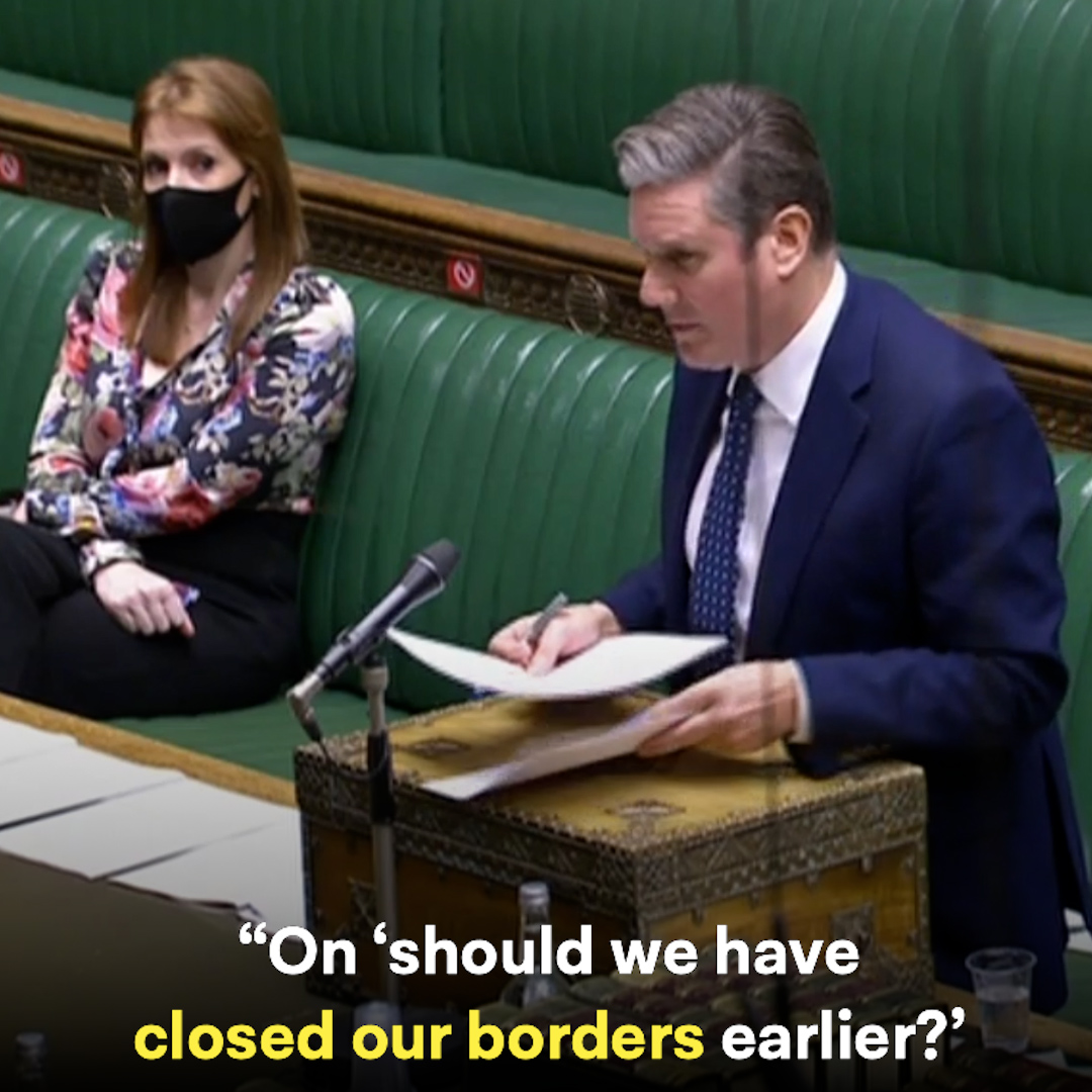 The Prime Minister left our nation's borders open while strands of coronavirus were being imported from overseas.  #PMQs