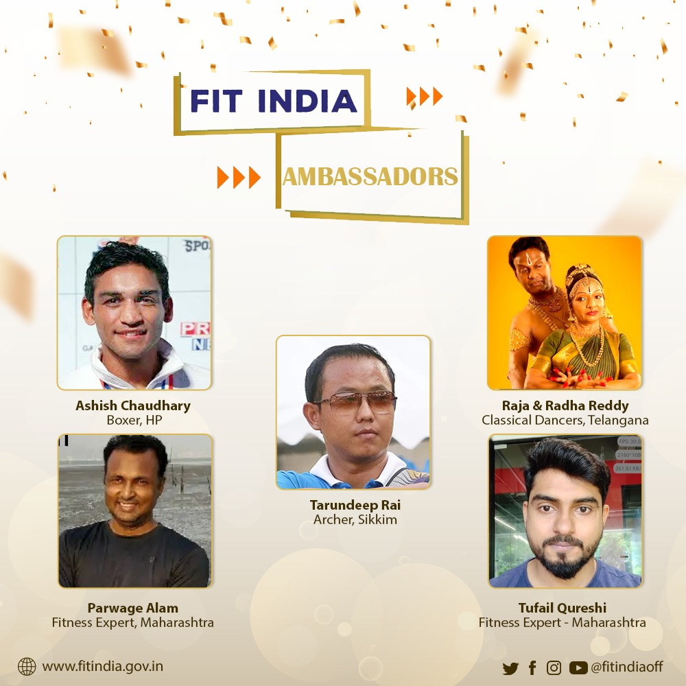 Many fitness celebrities have shown their support to the Fit India Movement. Let's welcome some more Fit India Ambassadors ⬇️  Sh. @boxerachaudhary, Sh. @parwage, Sh. @tarundeepraii, Raja & Radha Reddy & Sh. @tufailcoach! 🎉  #NewIndiaFitIndia  @KirenRijiju @YASMinistry @DGSAI