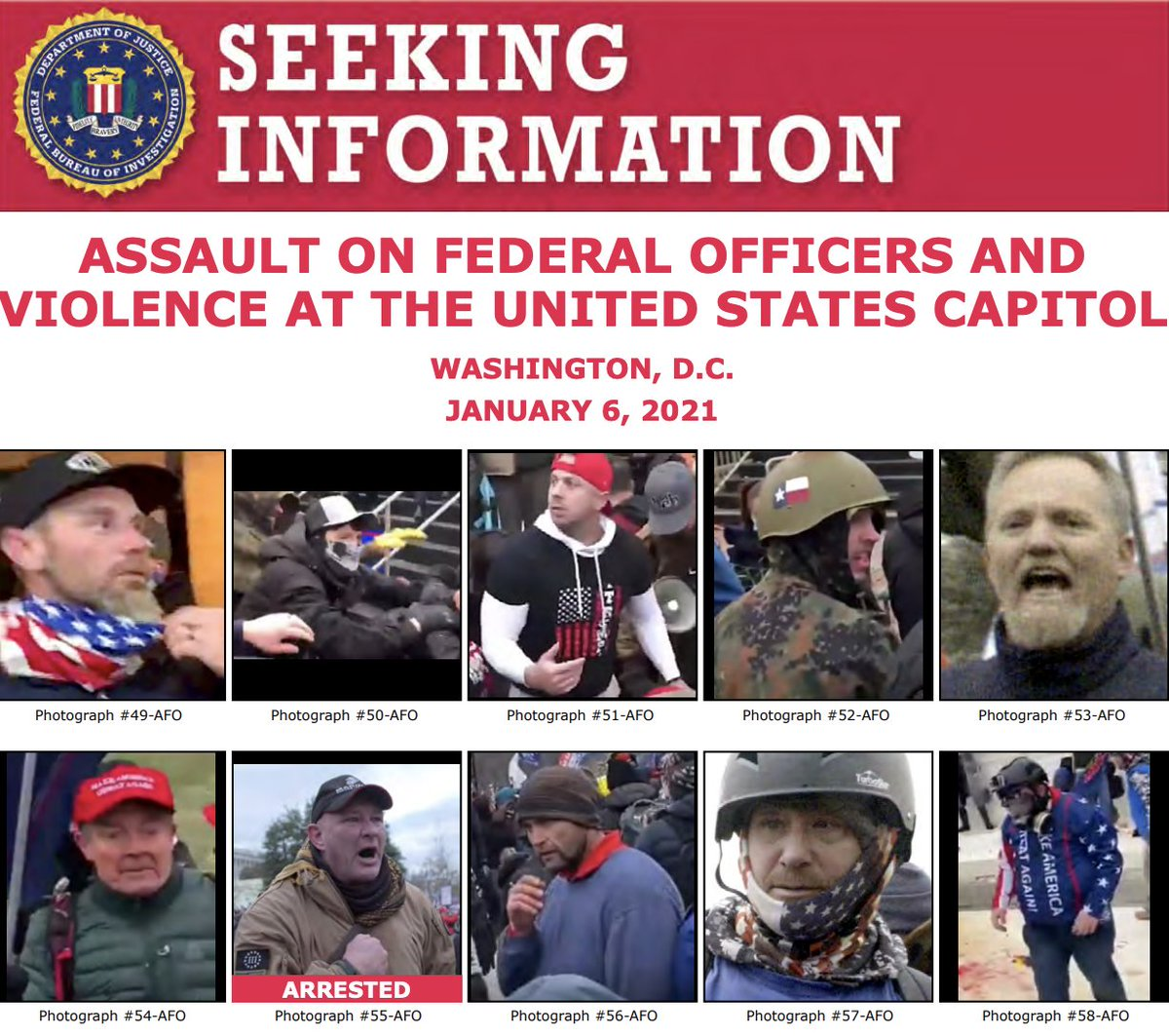 Thanks for your tips! The #FBI has arrested multiple people in connection with the violence at the U.S. Capitol on January 6. Help us identify more individuals at . If you know someone on these posters, submit a tip at .