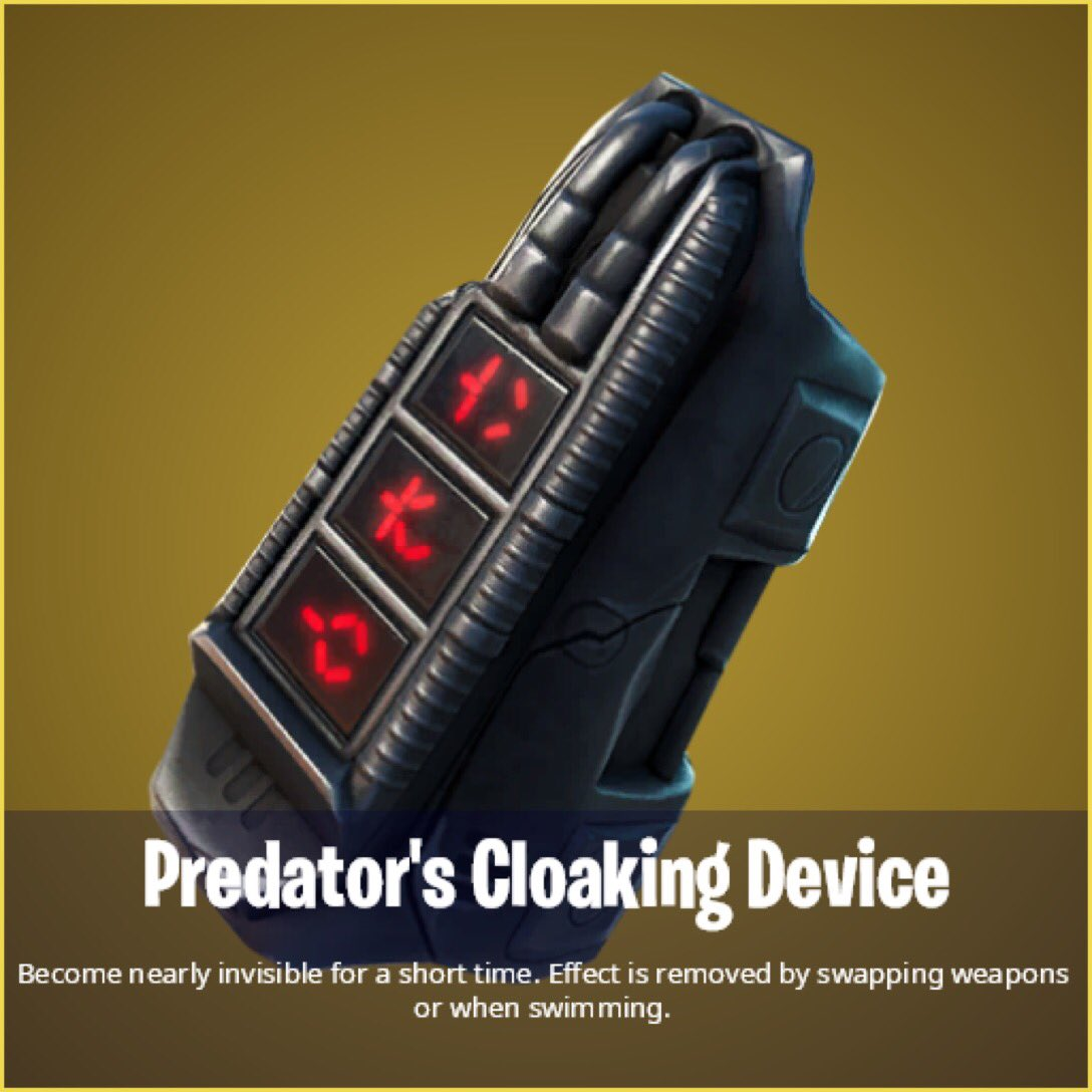 """With the release of the #Fortnite """"Predator"""" skin, it will come with a brand-new mythic item!  * Lasts 30 seconds * Cooldown is 30 seconds * Swapping weapons and swimming will show your location  #FortniteSeason5 #FortniteZeroPoint #FortniteBR #FortniteCommunity   (via @Mang0e_)"""