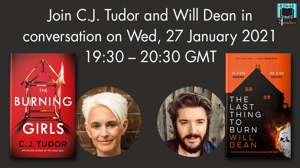 #Wednesday 27 Jan 21 #author talk 730PM GMT @The_CWA @cjtudor #praise for BURNING GIRLS (US date 9 Feb 21) queen of the cliffhanger @johnmarrs1 @willrdean (US date 20 Apr 21) @AtriaBooks #praise Brilliantly done @DameDeniseMina #Facebook -> bit.ly/35XGEnW