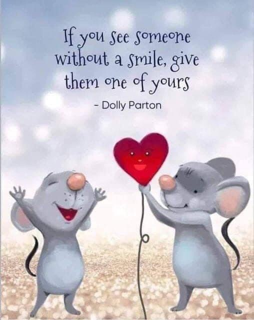 """""""If you see someone without a smile, give them one of yours."""" - Dolly Parton ❤️🤗 #quotes #hopenotes #wednesdaywisdom #hopecoach 📸: unknown"""