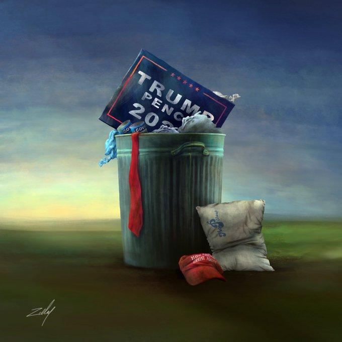 Libertas (lady in statue) throwing trump in garbage can !!   #TrumpsLastDay #InaugurationDay  #JoeBiden
