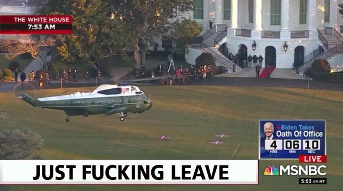 Donald Trump has left the White House for the last time.  DING DONG THE WHINY LITTLE BITCH IS DEAD, HALLEFUCKINGLUJAH I CANT BELIEVE WE MADE IT  #InaugurationDay #TrumpsLastDay #wednesdaythought #waytooearly