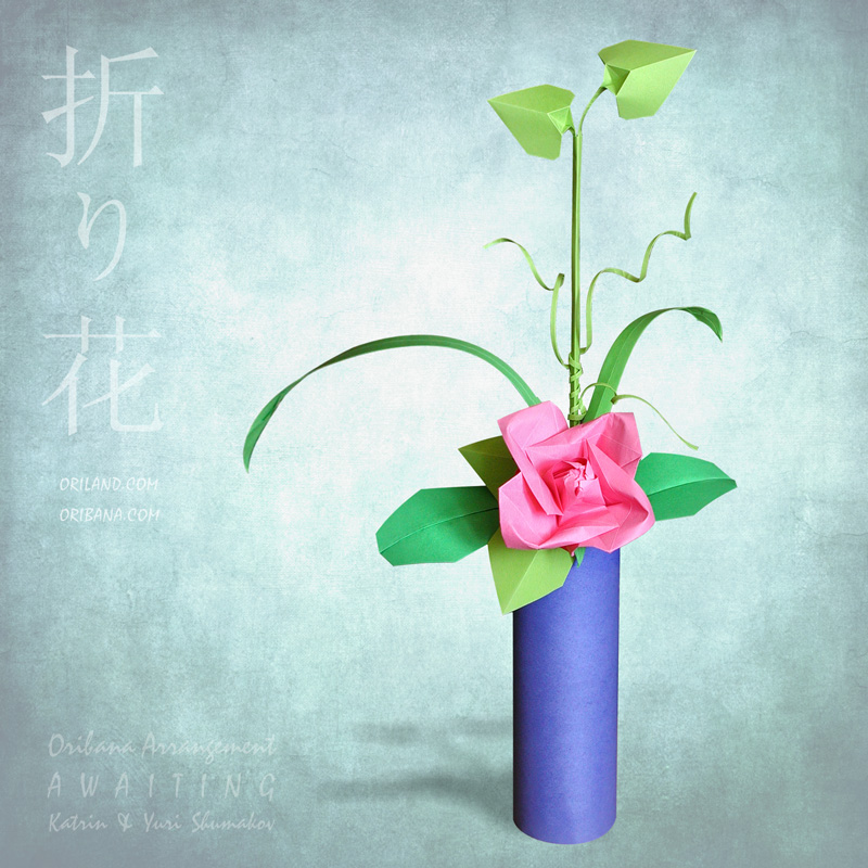 """#Oribana AWAITING  ORIBANA DELIGHT collection   30 cm (12"""") h Featured #origami #designs are our Tea Rose with leaves & stalks and Cylindrical Vase.  #paper  Happy folding! #ikebana #art #flowers"""