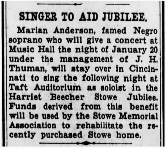 #OnThisDay Did you know singer Marian Anderson visited Cincinnati January 20, 1944? Her @musichallcincy concert raised funds to convert the Harriet Beecher Stowe House from boarding house to historic site. Click over to @FriendsHall to learn more!