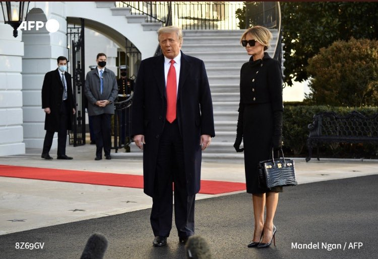 Bye Trumps ! May U b convicted for incitement of seditious mob, impeached n not b able to run again!   Last pic Of Trumps before Marine One whisks them away (Hopefully to oblivion..) #InaugurationDay