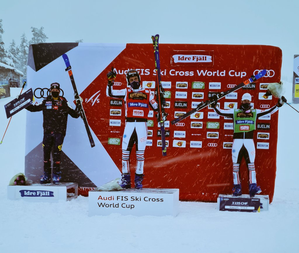 Men's SX podium of the day here in @idrefjall 🇸🇪:  🥇 Bastien Midol 🇨🇵 🥈 Viktor Andersson🇸🇪 🥉 Francois Place 🇨🇵  #fisfreestyle #skicross #worldcup #menspodium #idre