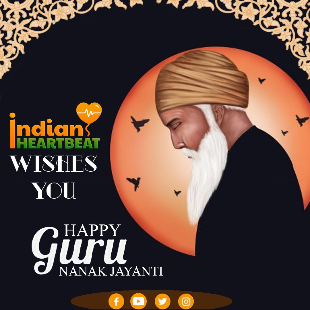 """Burn worldly love, rub the ashes and make ink of it, make the heart the pen, the intellect the writer, write that which has no end or limit.""  - Sri Guru Nanak Dev Ji   #IndianHeartbeat wishes you 550 Guru Nanak Jayanti.   #gurunanakdevji #guru #dailyart #daily #gurunanakjayanti https://t.co/f8Rr7JvkgH"