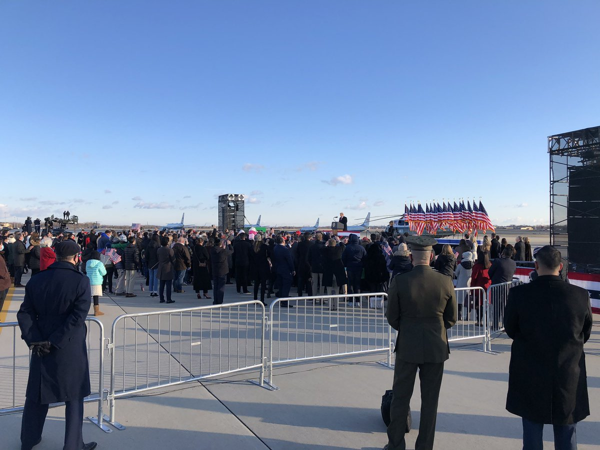 Definitely the smallest crowd size of the Trump presidency at the departure ceremony.