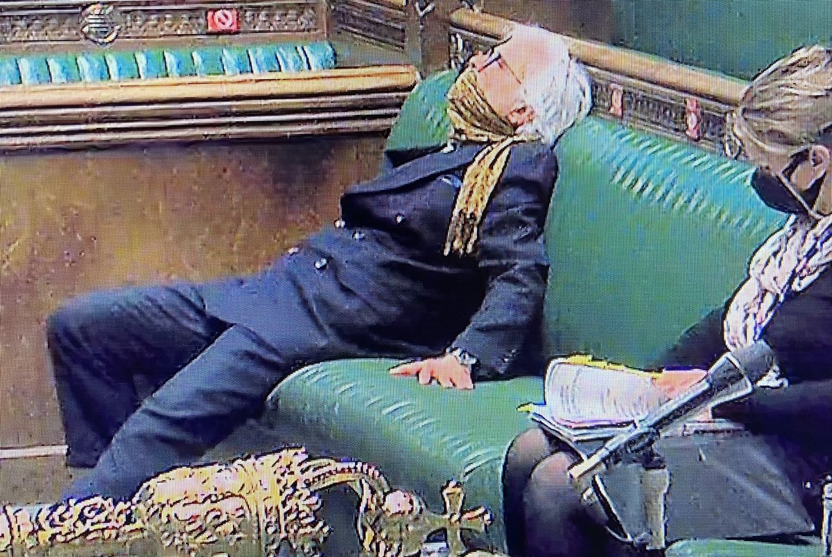 Tories getting on with the job of rolling out vaccine? Well they have been sleepwalking through this pandemic. This image says it all: PMQs.... Boris is boring his own MPs now. #PMQs
