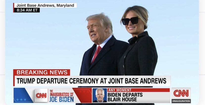 #ByeTrump #BeGone love that Melania is dressed like she's going to a funeral and hiding behind large glasses... seems very fitting it is indeed their political death of someone who is going out in shame