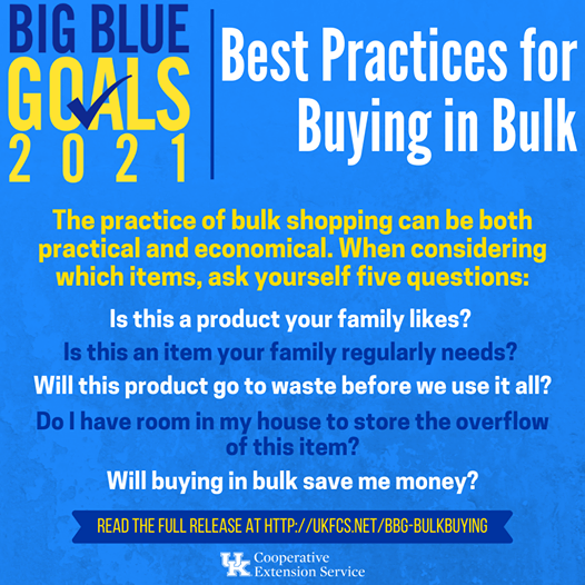 The practice of bulk shopping can be both practical and economical.  Learn more:  and reach out to us with any questions.   Building Strong Families. Building Kentucky. It Starts With Us #kentonextfcs #budget #financialwellness