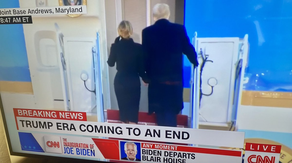Well he managed to learn to remember to walk WITH his wife. #silverlinings. Good riddance don't let the door hit ya on the way out!  All together now HUGE sigh of relief. 2021 is already looking better. #trumphasleftthehouse #byedon #inaguration2021