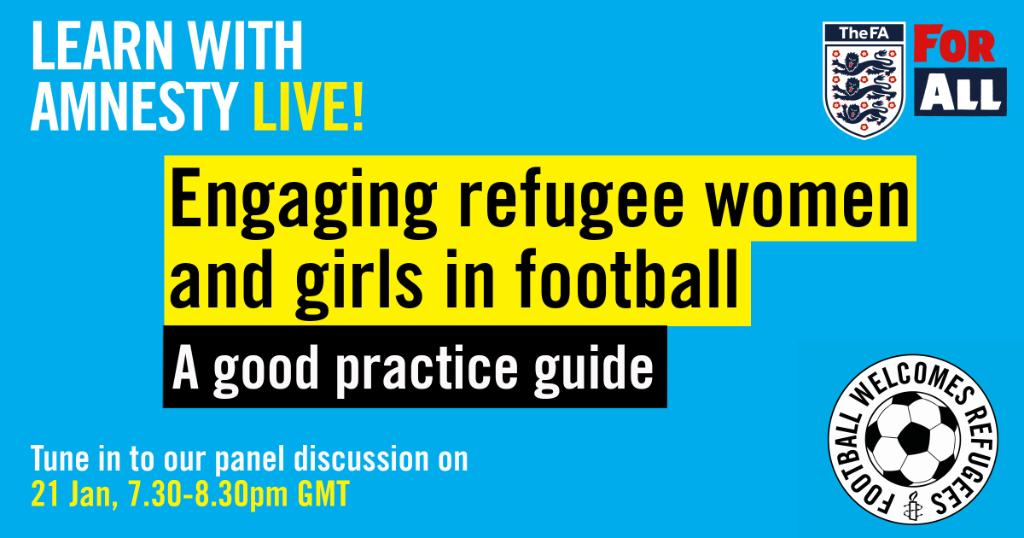 Join #FootballWelcomes 2moro for a discussion on how football clubs can engage refugee women and girls. Panelists include: @AVWFCOfficial defender @NicenNeetz, Amnesty FC captain Comfort Etim and @arsenalwfc defender @lottewubbenmoy. Register now for free: