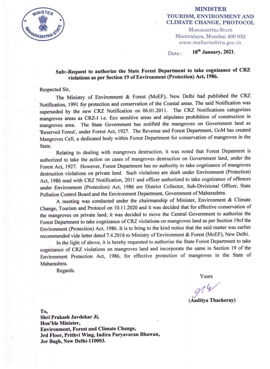 I have submitted a representation from my end to @PrakashJavdekar ji and @moefcc for authorising the State Forest Departments to take cognisance of CRZ violations as per Section 19 Environment (Protection) Act, 1986.