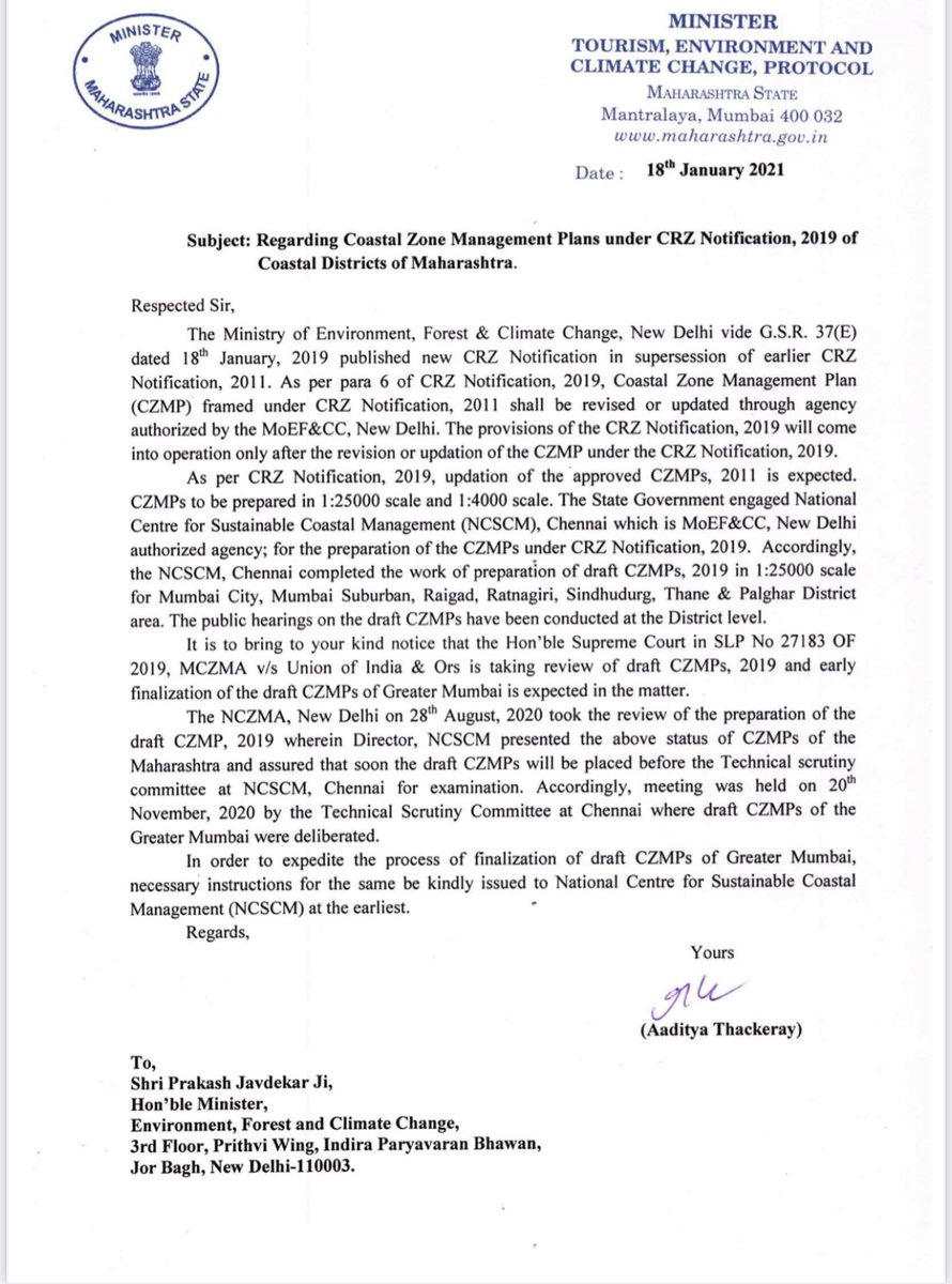 Further, I've submitted another representation concerning with the inclusion of Coastal Zone Management Plans under CRZ Notification, 2019 of Coastal Districts of Maharashtra.