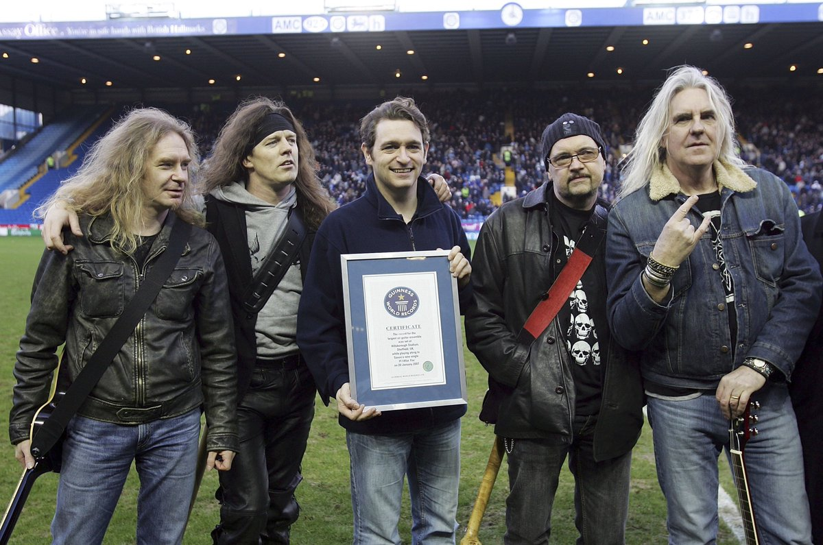 A bit of an odd #OnThisDay…  On January 20th 2007, a new world record was set for the 'largest air guitar ensemble' at #SWFC's Hillsborough.  Rock band, Saxon, came out at half-time. Wednesday lost 4-2.