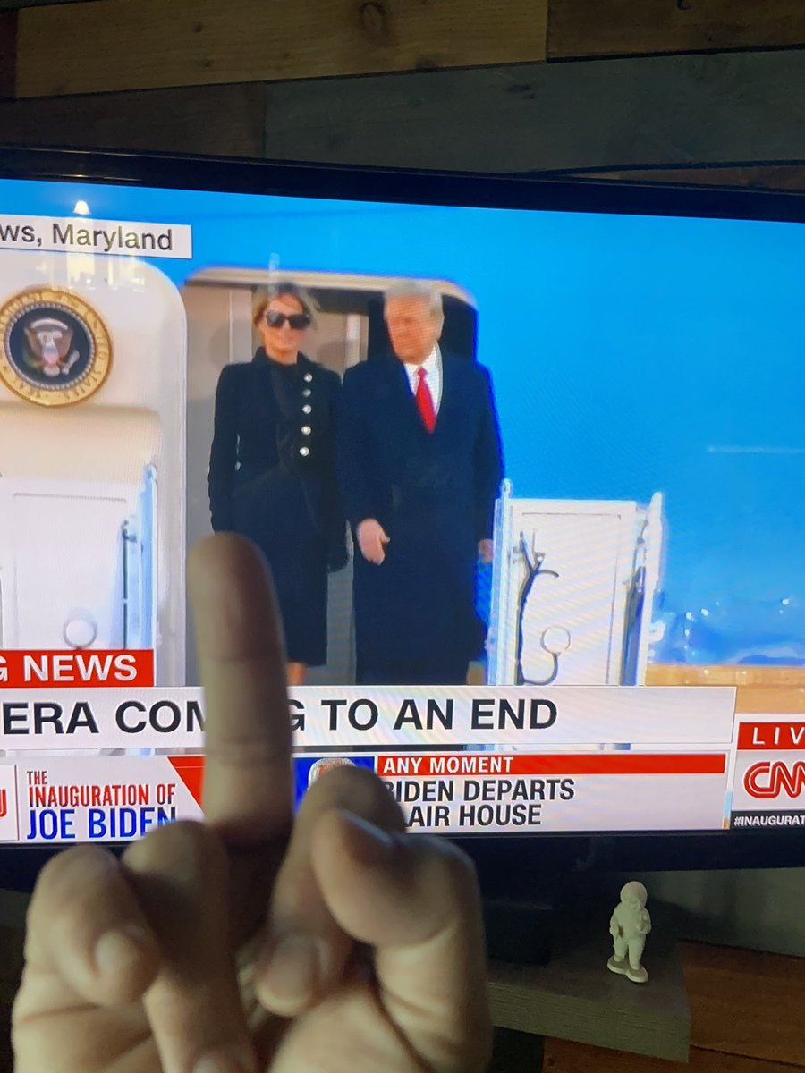 The BEST day in political history...   I wanted to make sure I gave him a real good fuck you send off. 😂  #ByeDon  #GoodbyeDonnie 🖕🏽🖕🏽🖕🏽🖕🏽 #WorstPresidentInUSHistory  #TrumpCoupAttempt
