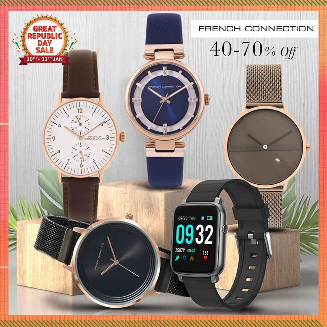 Stay ahead of times with future ready timepieces from #FrenchConnection! Shop for these stylish watches at 40-70% off only at the #AmazonGreatRepublicDaySale:   #FrenchConnection #Watches #NewBeginningBigSavings #Sale #AmazonFashion #HarPalFashionable
