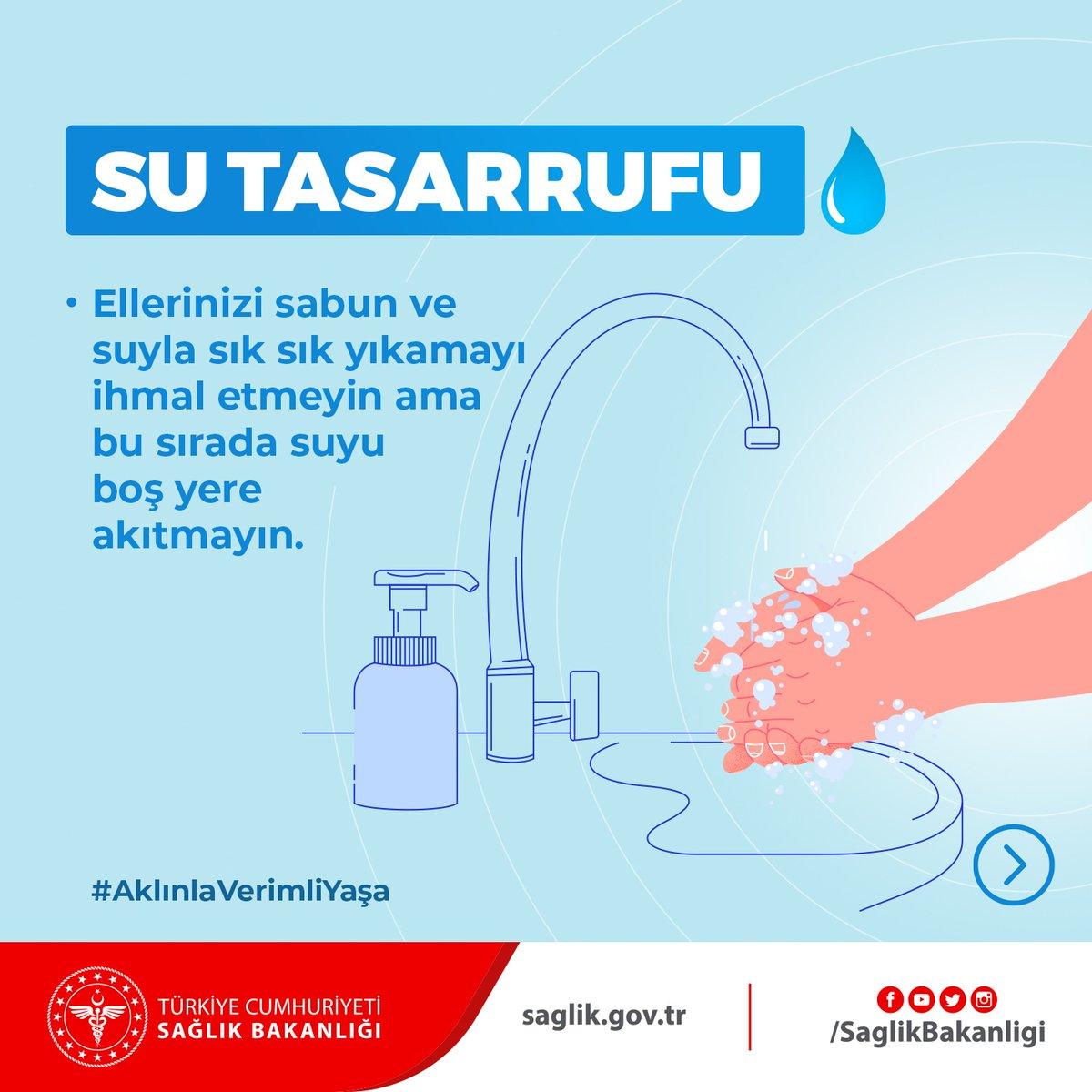 Ellerinizi sabun ve suyla sık sık yıkamayı ihmal etmeyin ama bu sırada suyu boş yere akıtmayın. Su kaynaklarını doğru kullanarak kuraklıkla mücadele etmek için uygulanabilecek yöntemler 👇 #AklınlaVerimliYaşa