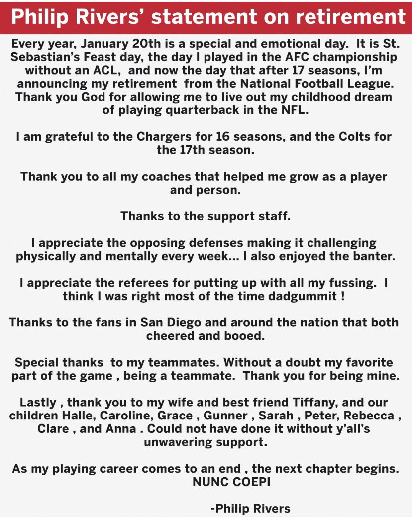 Philip Rivers' statement to ESPN is dadgum tremendous: https://t.co/30KaEFGy0X