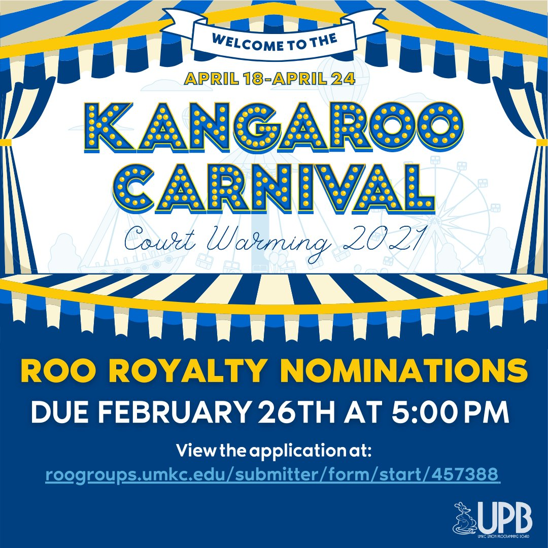 Union Programming Board invites UMKC students to be nominated for Roo Royalty 2021. The Roo Royalty winners will represent UMKC as prominent members of the student body, and are advocates for UMKC students. You can view the application at roogroups.umkc.edu/submitter/form…