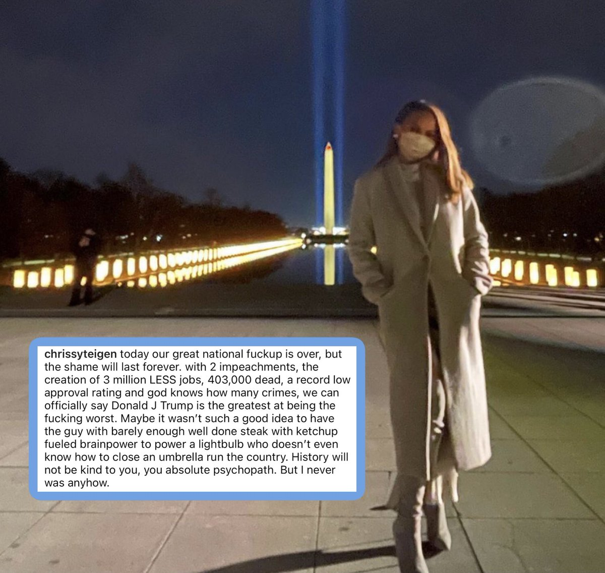 Replying to @PerezHilton: Chrissy Teigen shares what SO MANY are thinking on this historic day!