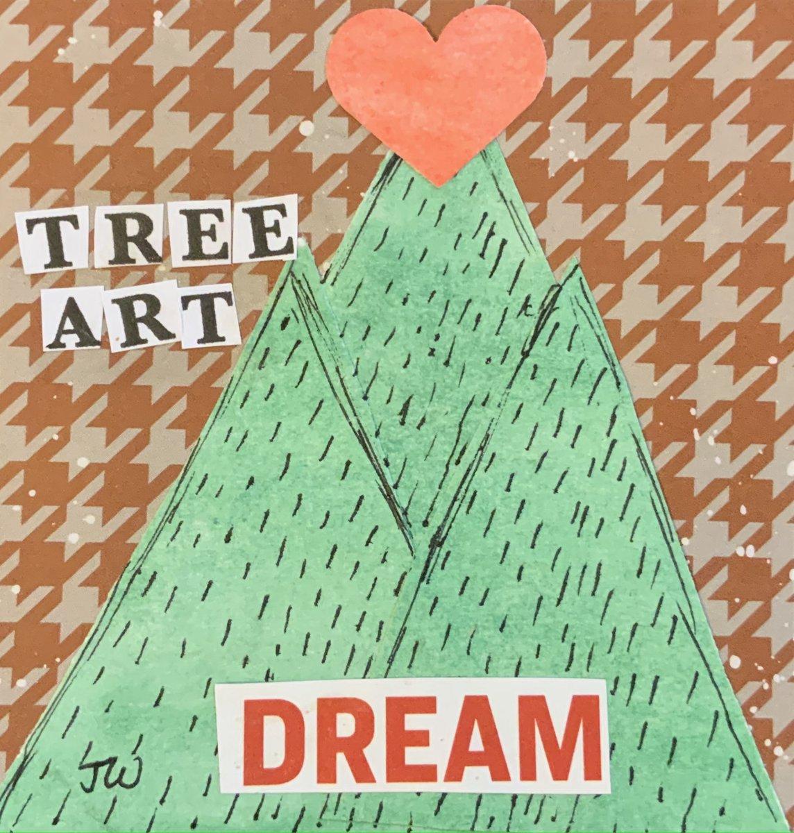 Tree a Day #treeaday #tree #treeart #treelove #art #patterns #dream #heart #greentrees #firtrees #brown #seriesart #nature #forest #wednesdayart #smallart #january2021art #paperart #watercolor #collage #abstractart #janicewilliamsart