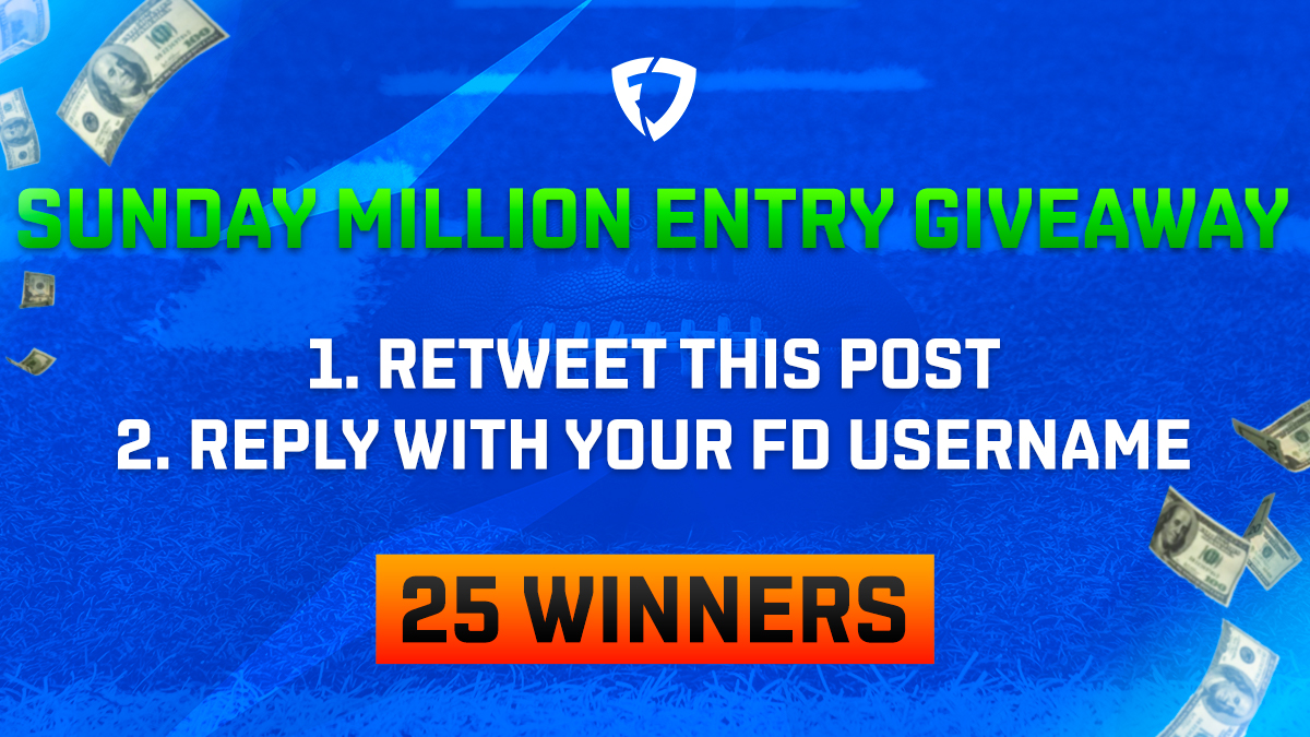 We're giving away 25 FREE entries into our $1.75M NFL Sunday Million contest on 1/24!  To enter: 1⃣ RT this post 2⃣ Reply with your @FanDuel username  Random winners will be entered before lock.  Rules: https://t.co/PhkD4DBdUm https://t.co/sbUURt5FoQ