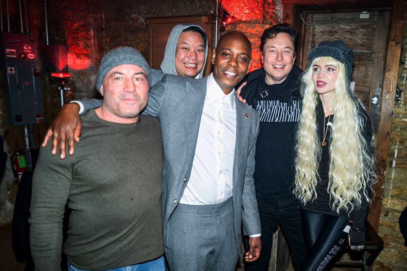 RT @brooklynvegan: Dave Chappelle, Joe Rogan, Elon Musk & Grimes walk into a bar: https://t.co/tMmsDmaGol https://t.co/pouPxTpB8K