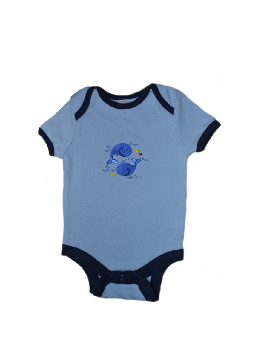 """Smiling Whales"" Embroidered Onesie  #onesie #whale #baby #clothing #blue #embroidery #bodysuit #navy #ocean #nautical #apparel #infant #boys #girls #snaps #fashion"