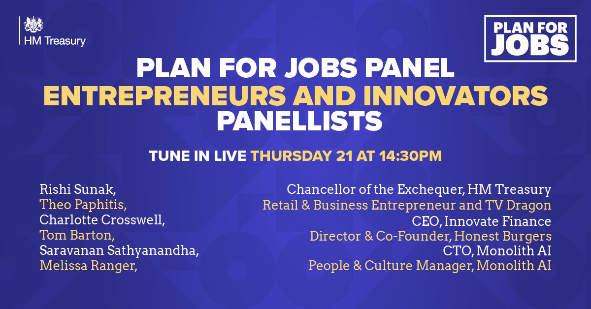 This Thursday at 2.30pm Chancellor @RishiSunak will be speaking to @TheoPaphitis and a panel of entrepreneurs and innovators about how they have responded to the challenges of the pandemic. Tune in live, right here on Twitter, and ask a question.
