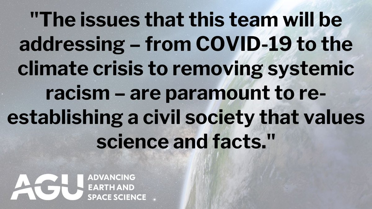 #ICYMI: #BidenHarris announced some key members of their science team and for the first time, elevated the OSTP Director to cabinet-level. Read @theAGU's full statement here  and see the full list from the #BidenTransition team: