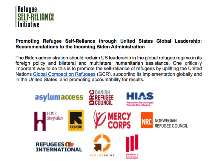 Read the recommendations @RefugeeSRI and partners shared with the incoming #BidenHarris administration on supporting refugees to rebuild their lives and contribute to inclusive societies:  #InaugurationDay #RefugeeSelfReliance