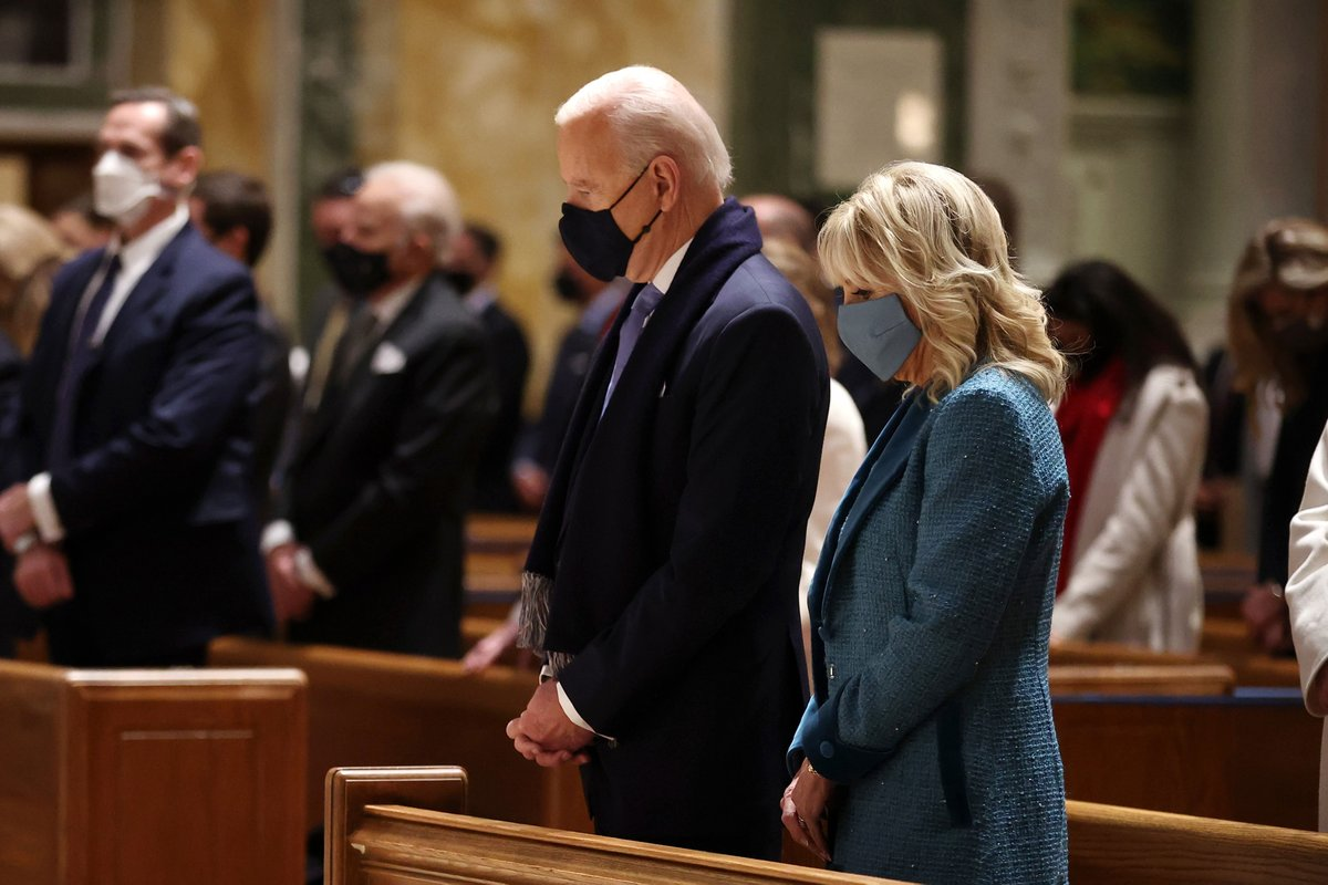The Bidens are attending Mass ahead of the inauguration