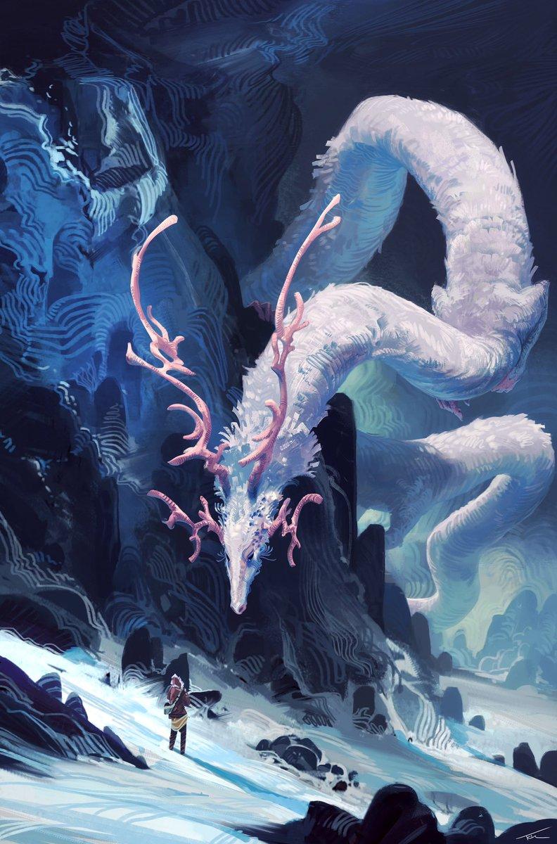 Spirit of the Mountain by concept artist Thomas Chamberlain - Keen >> @Tck___Tck #dragon #creaturedesign #illustration