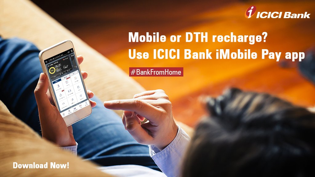 Now, easily recharge your mobile or DTH using the iMobile Pay app from the comfort of your home or while you're on-the-go!   Download the app today:   #BankFromHome