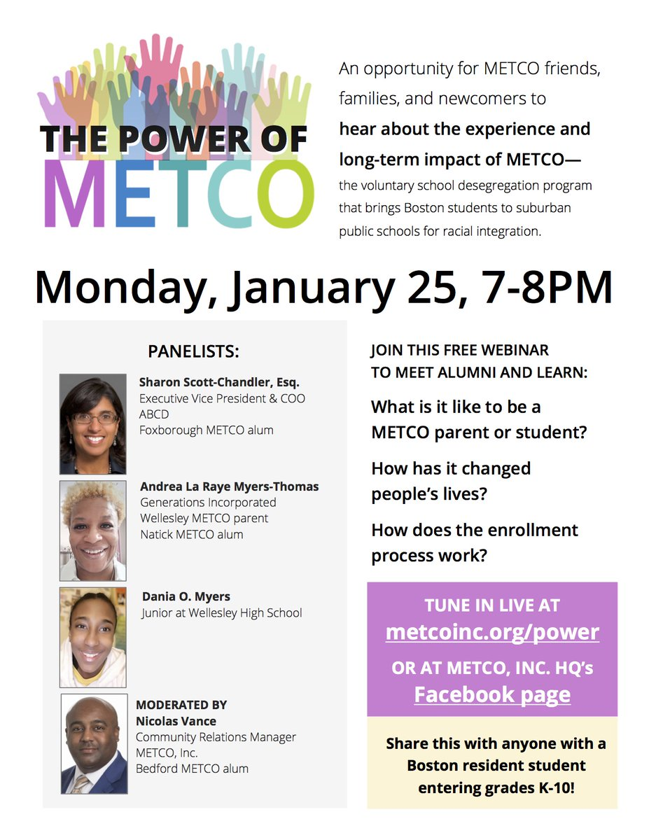 Looking forward to hearing from these esteemed panelists including our EVP/COO Sharon Scott-Chandler! Discover the power and promise of #METCO, integrated education that fosters #connection #community #racialequity & a brighter future for all. #Boston @MASchoolsK12