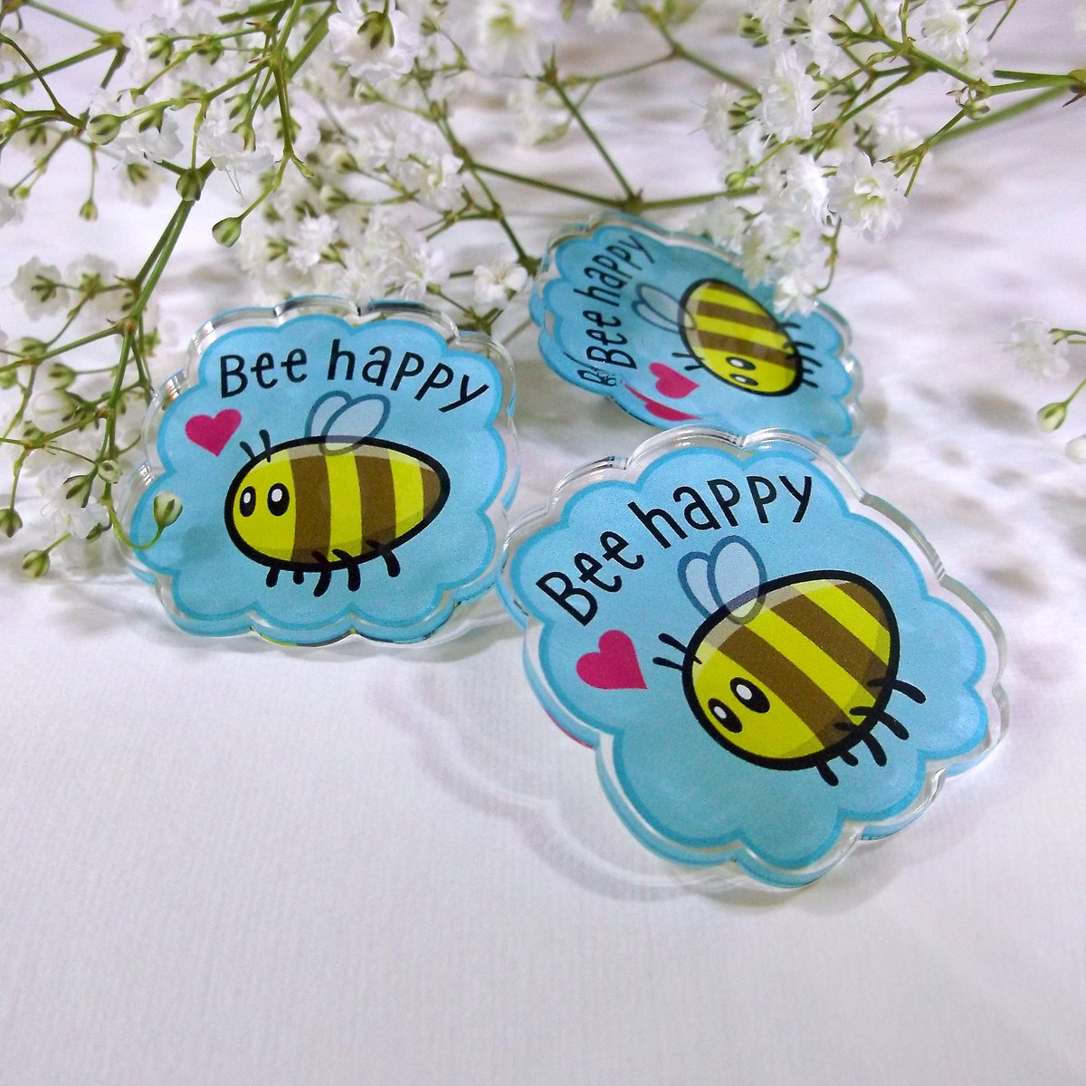 "Adorn the lapel of your favourite garment with our ""Bee Happy"" acrylic pin badge. Bees are cool... everybody says so!     #AcrylicPinBadge #CoolBadges #WeLoveBees #BeesAreCool"